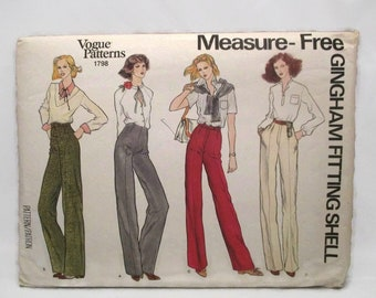 Vogue 1798 Palmer Fit Measure Free Fitting Misses Straight Legged Pants Size 34 UNCUT