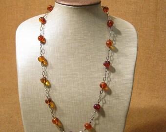 Splendid Art Deco Silver Amber Necklace 20.5 Grams.