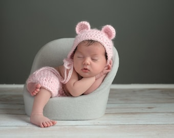 Newborn baby girl teddy bear hat, shorts