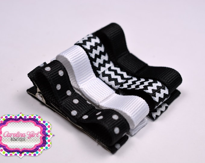 Black & White Hair Clips Basic Tuxedo Clips Alligator Non Slip Barrettes for Babies Toddler Girl Teens Set of 4