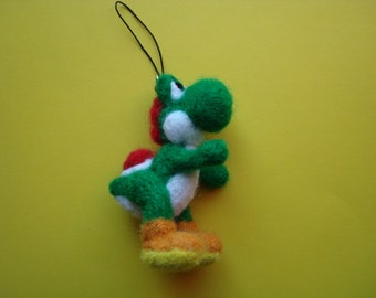 Needle felted Yoshi (Super Mario Bros.) plush keychain