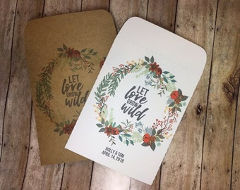 25 Let Love Grow Wild Seed Packets Wedding Favors WITH SEEDS sold in sets of 25 - Flower, Bridal, Baby, Shower, Custom, Personalized, Floral