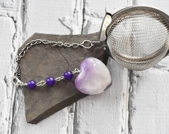 Amethyst Heart Tea Infuser- February Birthstone Metal Tea Ball Tea Strainer- Mother's Day Gift- Gemstone Tea Steeper Gift-