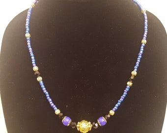 Purple/Blue Iridescent Seed Beads, Black Faceted Beads and Gold Accent Beads