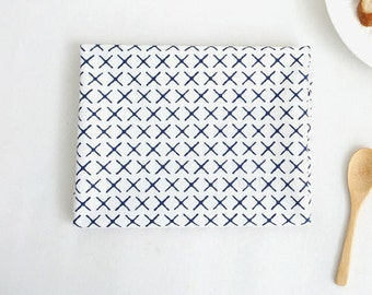 Laminated Cotton Fabric - Simple X in Blue - By the Yard - 94369