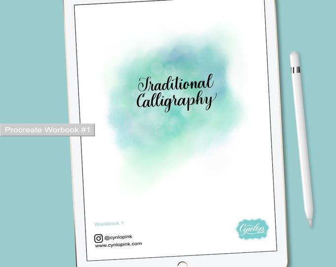 Featured listing image: Traditional Calligraphy Workbook #1 for Procreate