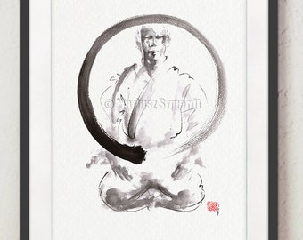 Enso circle original painting for sale, Zen circle meaning, Black and White wall art