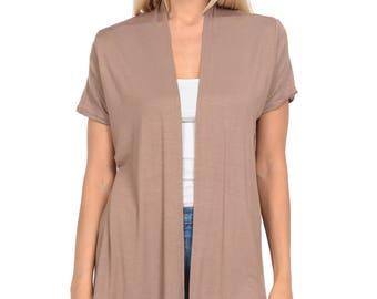 Short Sleeve Open Front Vest Mocha