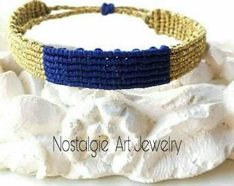 Macrame bracelet in Gold  and Blue electric.  Womens Bracelet,  Micro Macrame Bracelet  , Minimal  Bracelet.
