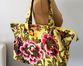 Upcycled Handbag Purse Lime Flowers Red Yellow OOAK