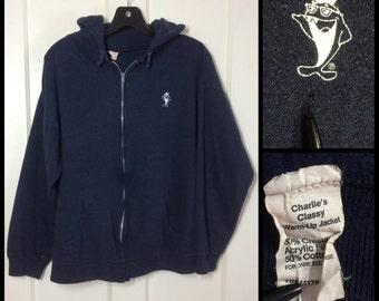 1970's Starkist Charlie Tuna promo Dark Blue Zip up Hoody Sweatshirt size Large soft acrylic cotton character cartoon Fish logo