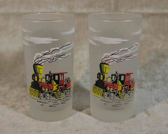 Libbey Frosted Early Locomotives Tumblers