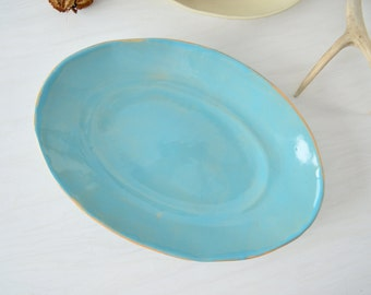 Oval Serving Bowl, Rustic Bowl,Blue Bowl