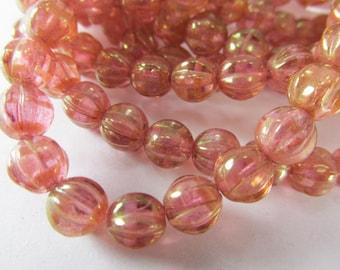 Golden Pink Czech Glass 6mm Fluted Melon Jewelry Beads (25 beads)