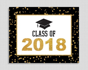 Class of 2018 Graduation Party Sign, Black & Gold Glitter Graduation Party Sign, 8x10 inch, INSTANT PRINTABLE