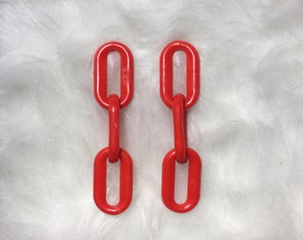 Plastic Chain Earrings // Post Back // Yellow, White & Red Color Options