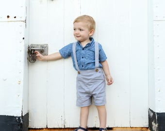 Boys Pants with Suspenders, Shorts with braces, linen baby pants, grey linen pants, page boy attire, formal baby, toddler overall