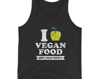 Vegan Food Distressed Green Bella And Canvas Men's Tank Top
