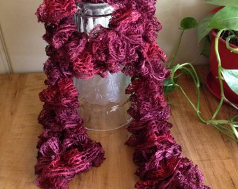 Variegated Red Ruffle Scarf with Sequins