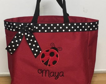 Personalized Girl Ladybug Tote Bag Baby Diaper Bag