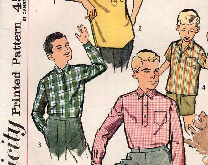FREE US SHIP Vintage Retro 1960's 60's Sewing Pattern Simplicity 44533 Boys Pullover Tab Collar Sport Shirt Uncut Size 16 Chest 34