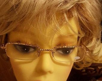 Glamour Swarovski adorned reading glasses -Gold on Gold Elegance with Swarovski  Case