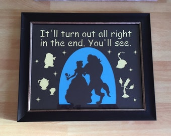 Beauty and the Beast paper cut, beauty and the beast frame, bedroom decor, beauty and the beast picture