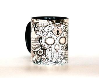 Sugar skull mug black and white