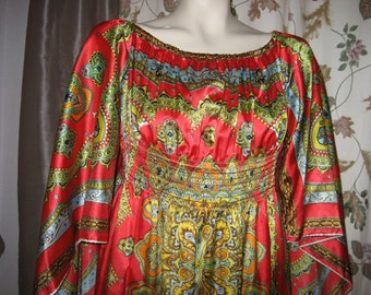 Scarf Maxi Dress with Butterfly - Angel Sleeves - Red - Gypsy - Boho - Hippie - 70s Vintage