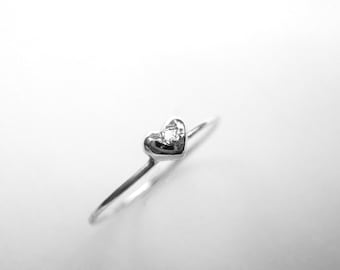 Sterling Silver and Diamond Mini Heart Love Ring