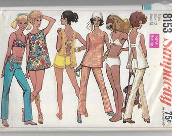 1960's Simplicity 8153 Misses Top With Open Back, Hip-Hugger Pants And Two-Piece Bathing Suit Pattern, Bust 34
