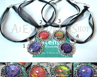 "Collars with large cameo (25 mm) at the bottom ""Metal Rainbow"""