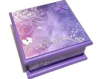 Purple Butterfly Keepsake Box, Memory box, Trinket Box, Jewellery Box, Wooden Box, Personalised Box