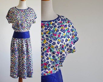 Vintage Silk Dress, 80s Drop Waist Dress, Blue Yellow & Pink Floral Dress, Dolman Sleeve Dress, Cummerbund Waist Dress, Petite Medium
