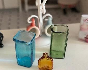 SALE Miniature Square Glass Vase, Choose Turquoise or Green,  Dollhouse Miniature, 1:12 Scale, Dollhouse Decor, Accessory, Vase