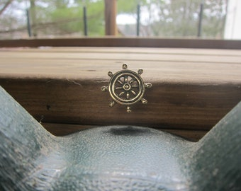 Gold Ship's Wheel Lapel Pin- CC598- Nautical, Vessel, Boat Wheel, Sailing, Yachting, and Marine Pins