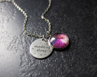 Made Of Stars Necklace - Galaxy Necklace - Nebula Necklace - Orion nebula Galaxy Glass Dome Personalised Necklace