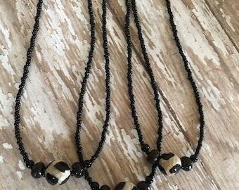 Beaded Black and White Short Necklace By Brooke Baker