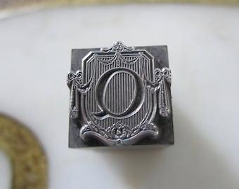 Vintage Letterpress Printers Block Metal Ornamental Stationers Initial Q