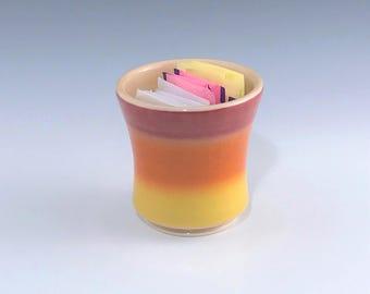 Orange Sugar Packet Holder, Porcelain Sweetener Holder, Ceramic Sugar Bowl, Small Planter, Orange Kitchen Decor, Votive Candle Holder