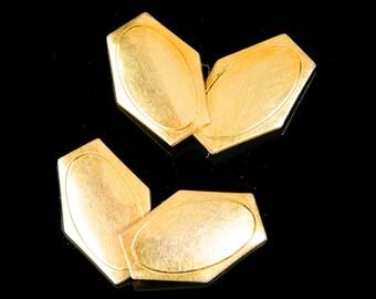 Art Deco gilt metal cufflinks signed S & W