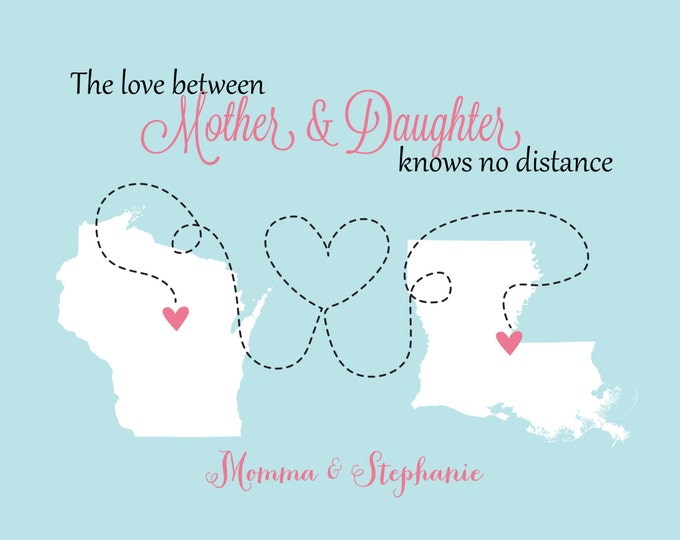 Mother's Day Gifts For Mom From Daughter Mothers Day Print Family, Mom, Dad, Sister, Best Friend Art Print Map Christmas Gifts for Mom Ideas