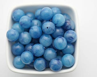 Vintage Blue Givre Marbled Lucite Round Beads 16mm (10)