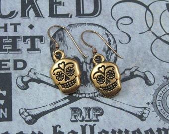 Dia De Los Muertos Earrings on Gold Filled Ear Wires, Sugar Skull, Halloween Earrings, Day of the Dead Jewelry
