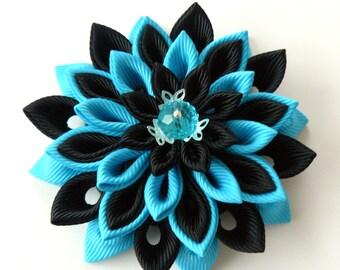Kanzashi  fabric flower brooch . Black and turquoise flower brooch. Black and turquoise kanzashi brooch. Handmade flower brooch.
