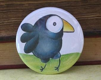 Happy Big Eyed Crow - 2.25 Inch Pinback Button