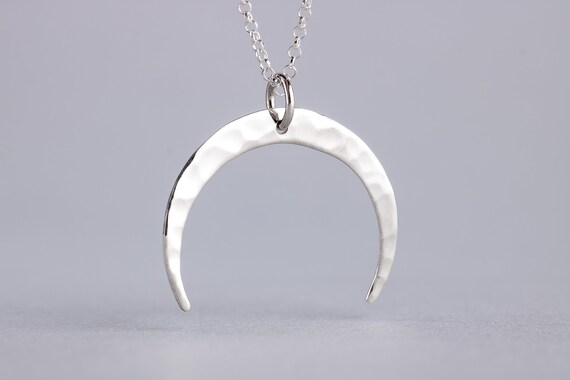 Crescent Moon Necklace - Sterling Silver Naja Necklace - Bohemian Boho Indian Style Moon Pendant - Lunar, Space Jewelry, Celestial Necklace
