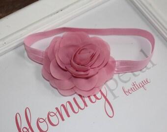 Dusty Pink Chiffon Flower Headband