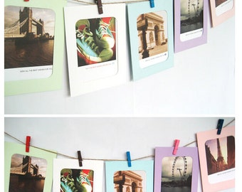 10X Paper Photo Frame Picture Hanging Album Frame Gallery With Hemp Rope Clips For Pictures
