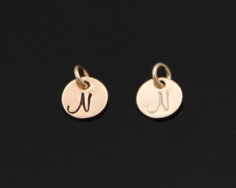 ADD an Initial Charm, Gold Initial Charm, Small Initial Charm, Monogram Disc, Choose your Font, 14K Gold Filled.